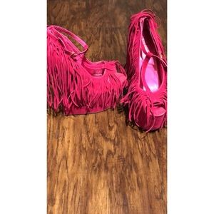 Pink tassel wedge shoes